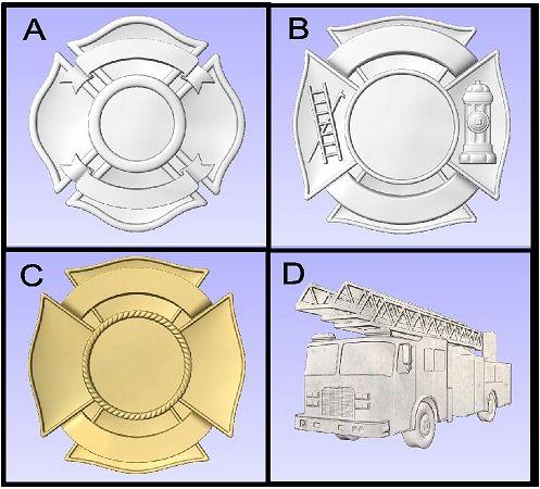 X33915 -  3-D Carved Wood Appliques ( Firefighter Badges)
