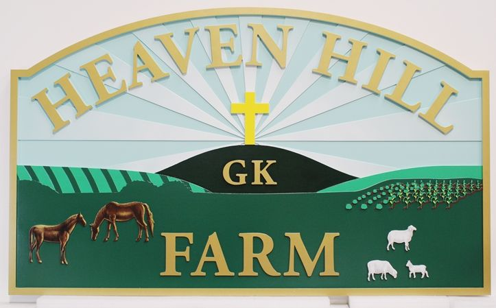 Q24845 - Carved Entrance Sign for Heaven Hill Farm, with Cross,Hills, Horses and Sheep as Artwork