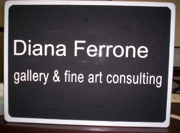 "SA28416 - Carved HDU Sign for the ""Diana Ferrone Gallery & Fine Art Consulting"" Studio"
