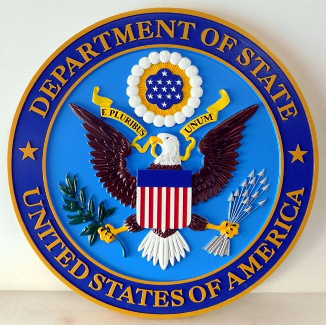 AP-3630 - Carved Plaque of the Seal of the Department of State, Artist Painted