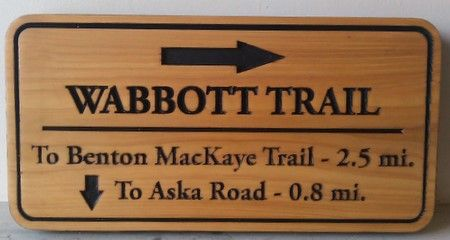 G16122 - Natural Cedar Engraved Wabbott Trail Sign, with Arrows