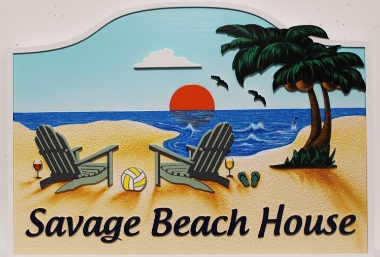 "L21011 - Carved and Sandblasted 2.5-D Multi-level Relief Name Sign ""Savage Beach House"" , with Two Chairs, Ocean and Palm Trees as Artwork"