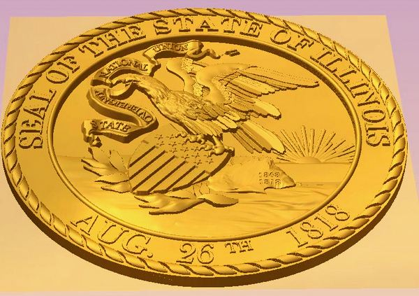 W32183 - Great Seal of Illinois, 3D and 24K Gold-Leaf Gilded (Side View)