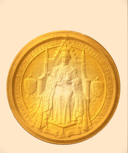 EP-1060 - Carved Plaque of the Great Seal  of the UK, with Queen Elizabeth II on her Throne,  Gold Gilded