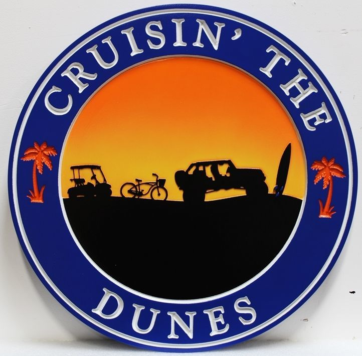 "L21230 -  Carved  2.5-D Multi-level Relief HDU Beach House Name Sign ""Cruising' The Dunes""., with Golf Cart, Bike, SUV and Surfboard Silhouetted Against the Sunset"
