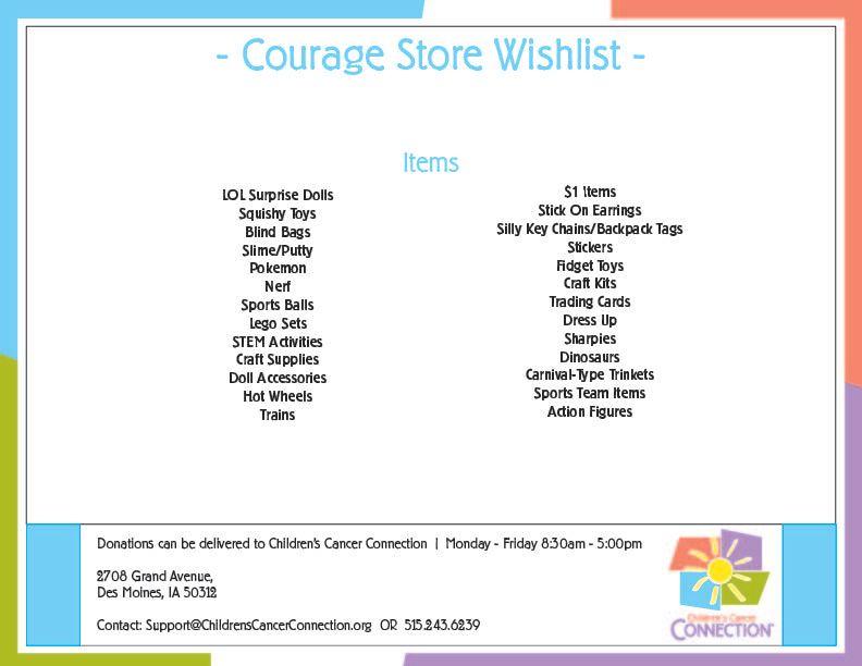 Courage Store Wish List