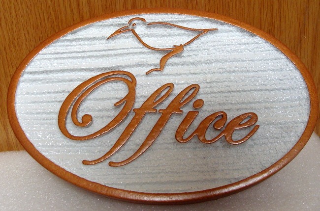 T29403 -  Carved and Sandblasted (Wood Grain Pattern) Elliptical  HDU Office Sign, with Bird as Artwork