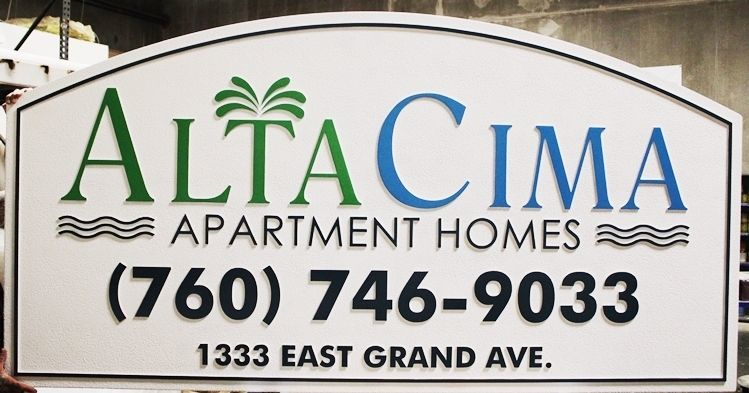 K20407 - Carved High-Density-Urethane (HDU)  Entrance and Address Sign for the Alta Cima Apartment Homes