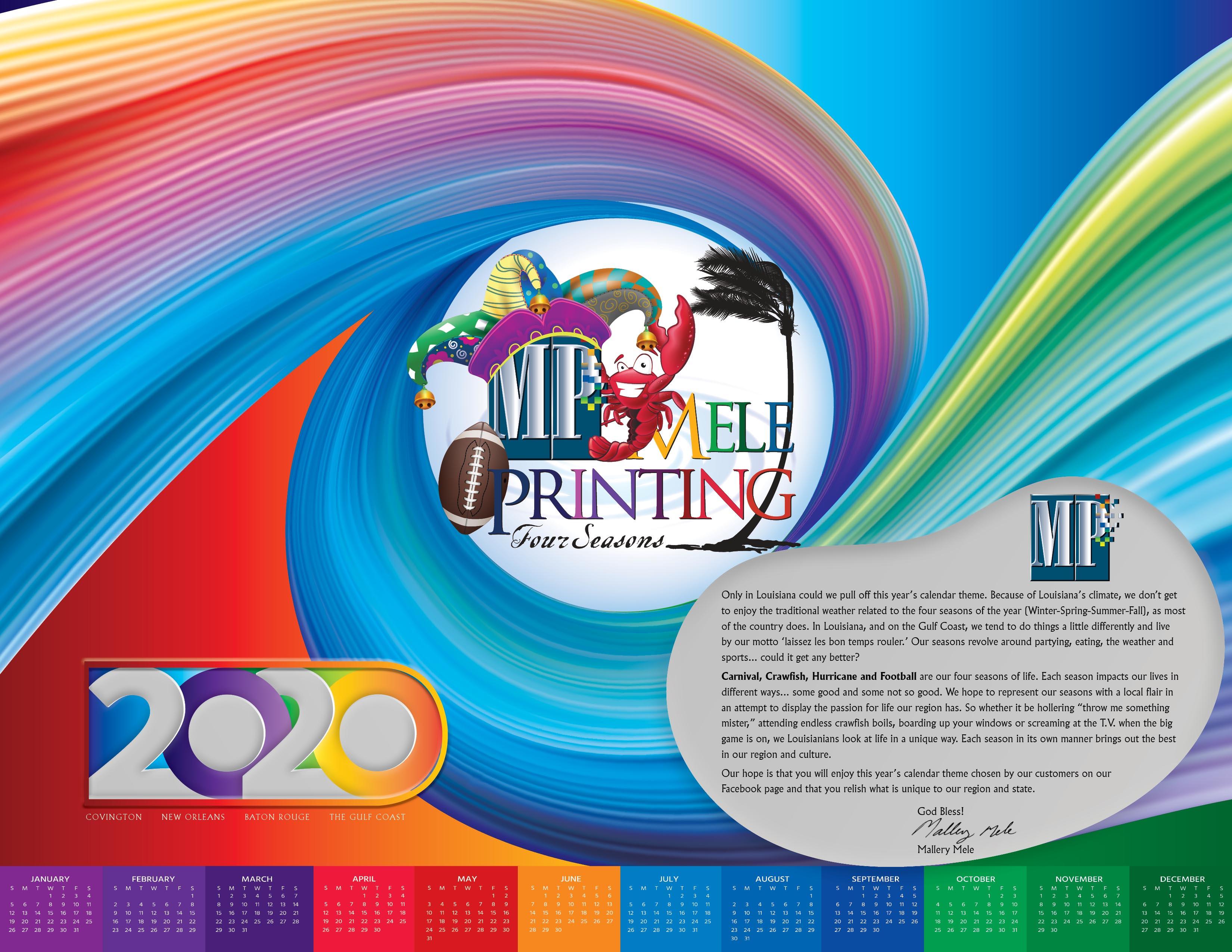 2020 Mele Printing Desk Calendar