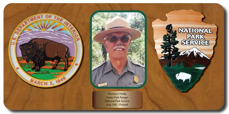 EA-1097- Plaque for a Senior Ranger of the National Park Service., with Photo and Seals of the Department of the Interior and National Park Service