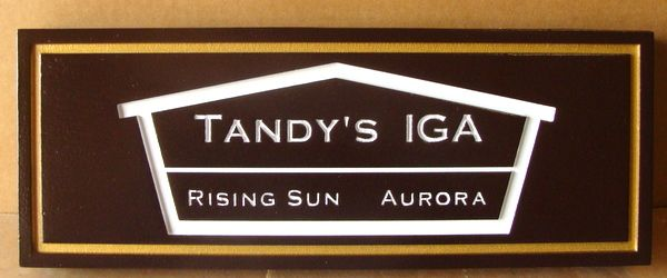 """S28065 - Engraved Commercial Business Sign""""Tandy's IGA""""  with Carved Logo of a House"""