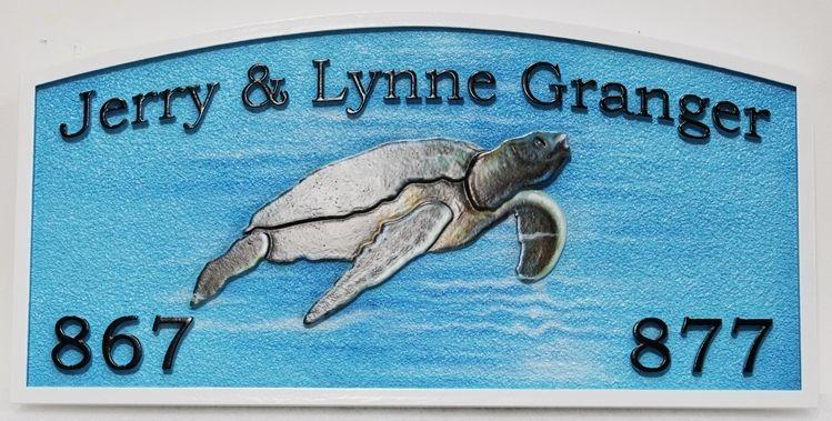 L21670- Carved EngravedHDU  Coastal ResidenceNameSign , with Swimming Sea Turtle as Artwork