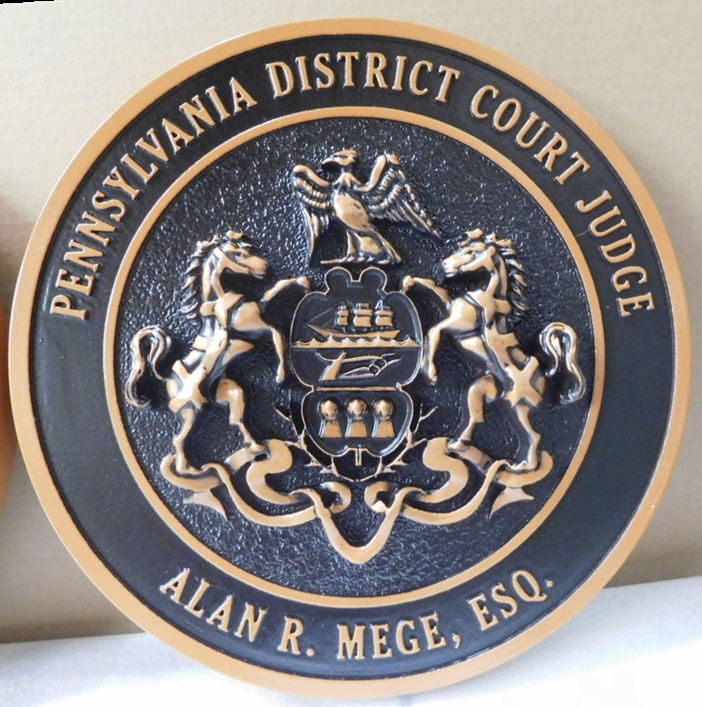 MA1028 - Seal of the State of Pennsylvania for District Judge, 3-D Hand-rubbed