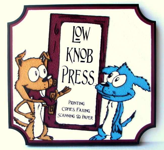 """SA28420 - Whimsical  Sign for """"Low Knob  Press""""  - Printing, Copies, Fax, Scanning, with a Cat and Dog"""
