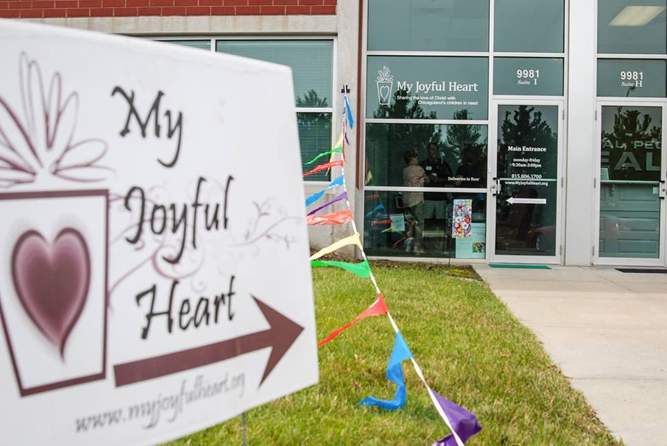 My Joyful Heart Building with Sign