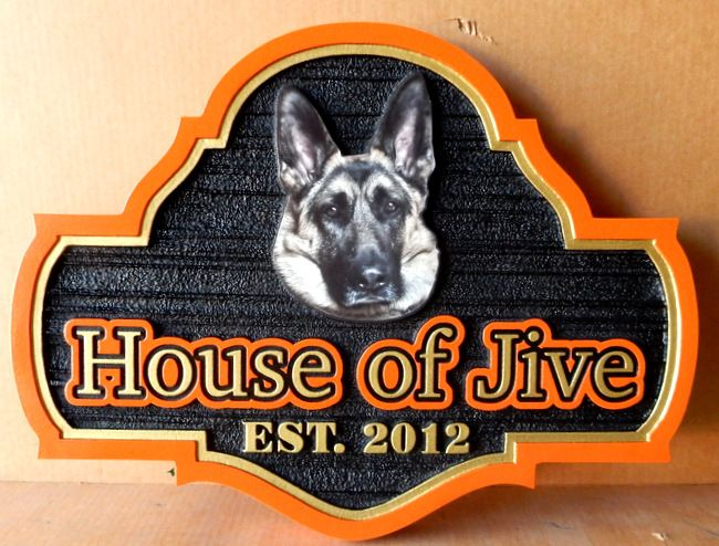 """RB27164 - Carved and Sandblasted Home Bar Sign for the """"House of Jive""""with Face of a German Shepherd,"""