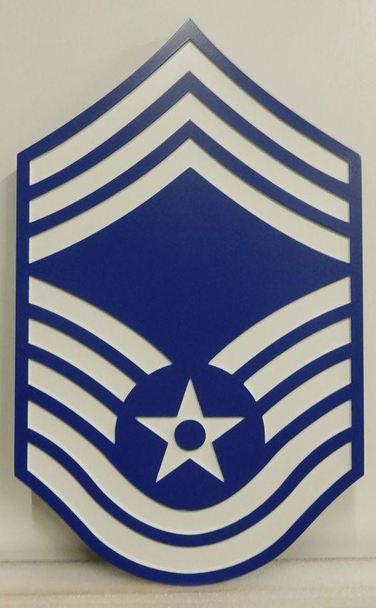 V31690 - Carved Insignia  Plaque for an Air USAF Chief Master Sergeant (CMSGT)