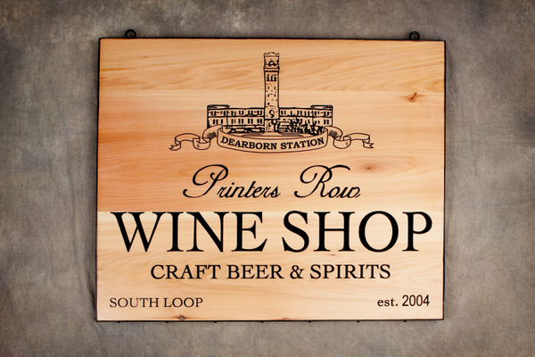 R27305 - Engraved  Wood Wine Shop Plaque, with Building