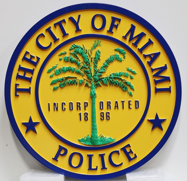 PP-3335 - Carved Plaque of the Seal of the City of Miami Police Department, 3-D Artist-Painted
