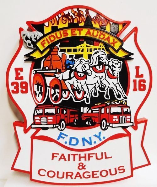 CB5547 - New York City Fire Department Emblem,  Multi-level and Engraved  Relief