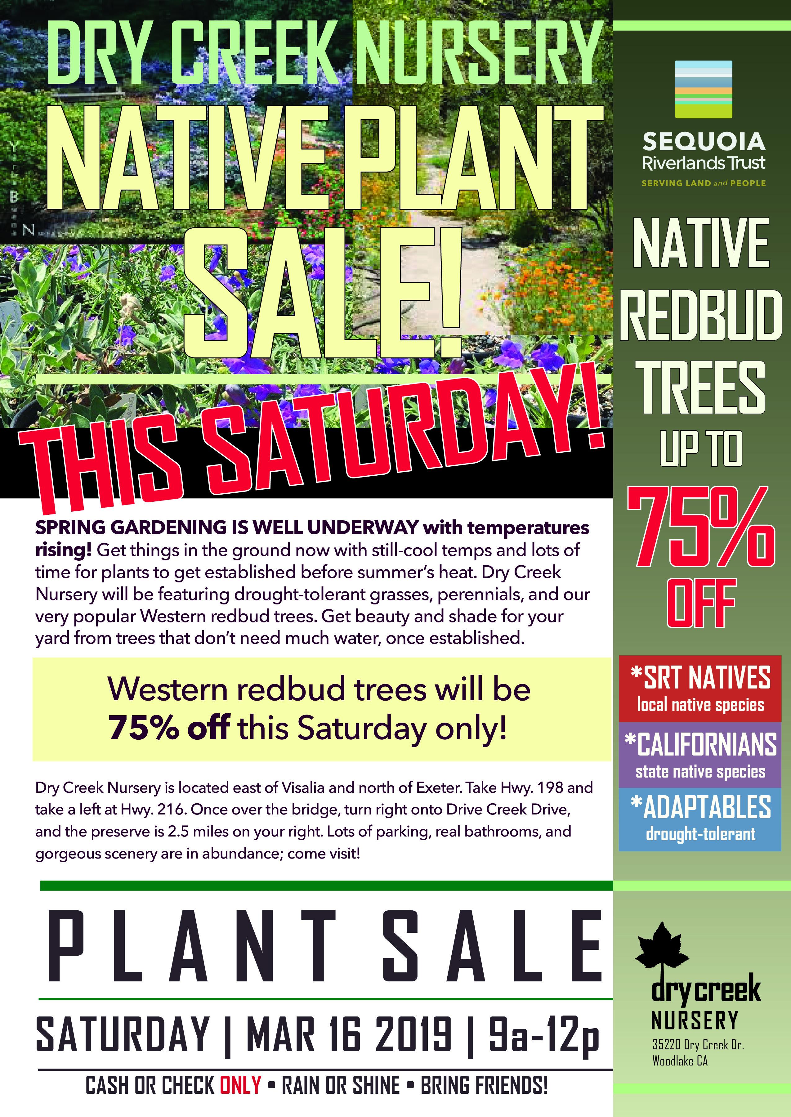 SRT Dry Creek Nursery NATIVE PLANT SALE this Saturday!
