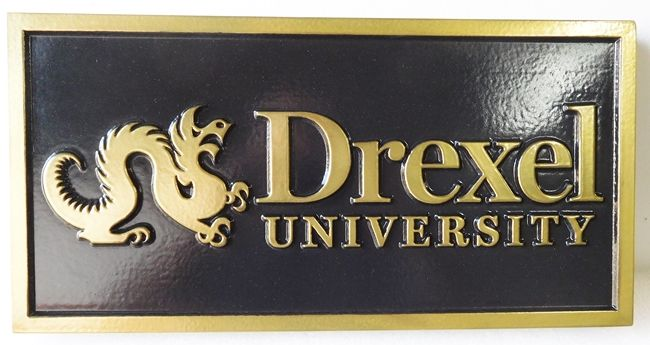 RP-1400 - Carved Wall Plaque of  the Emblem of Drexel University, Artist Painted