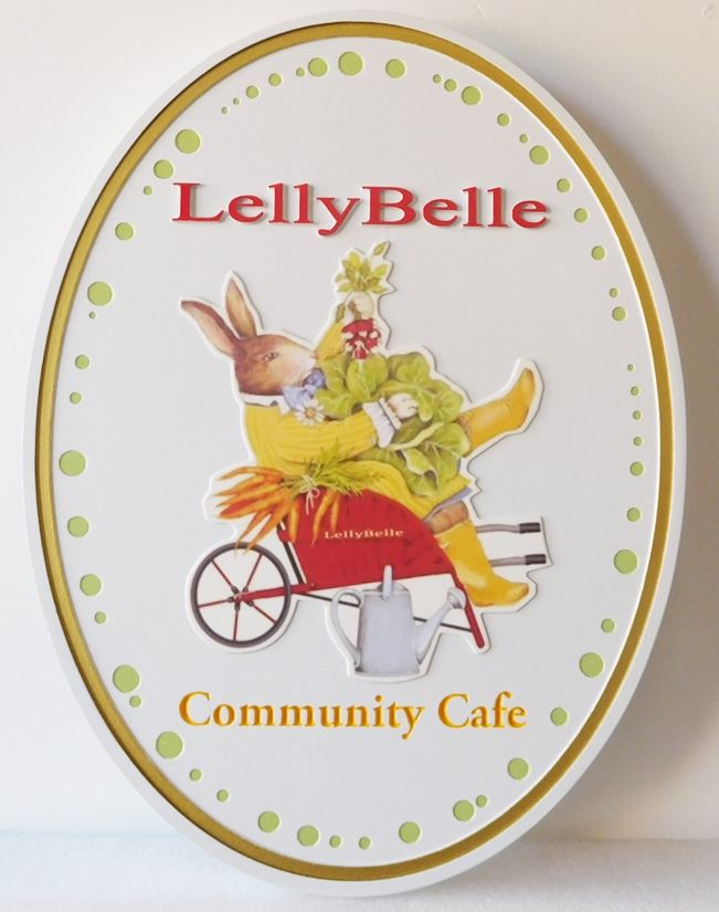 Q25622 - Carved, High-Density Urethane Sign for a Community Cafe Showing Rabbit and Garden Vegetables.