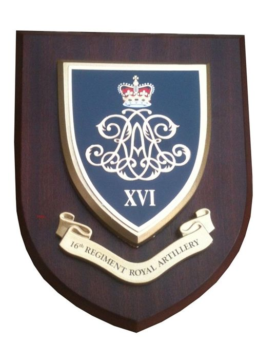 OP-1180 - Carved Shield Plaque, UK Army,  16th Regiment Royal Artillery, Artist Painted Wood