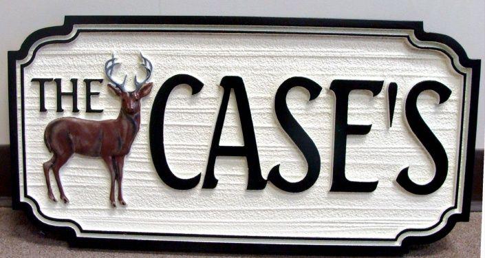 M22610 - Carved 3-D Deer on Sandblasted HDU