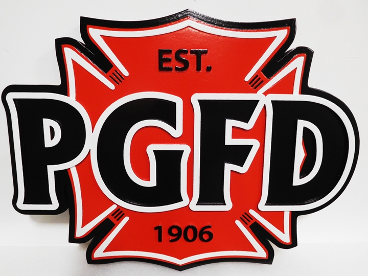 QP-1087 0 Carved Plaque of the Emblem of the PG Fire Department