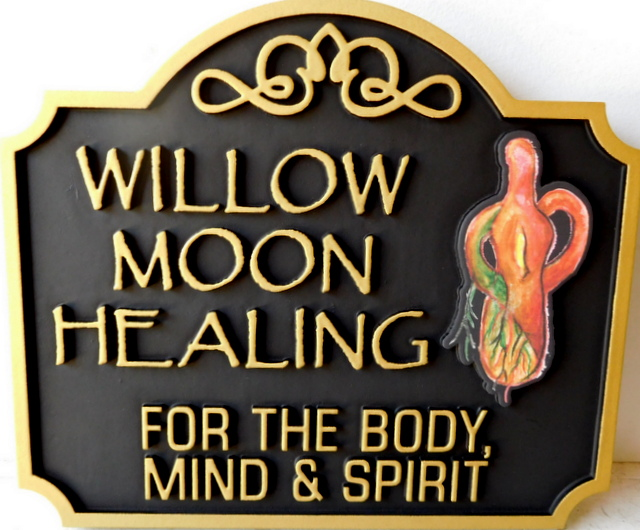 B11244 - Carved HDU Willow Moon Healing Sign