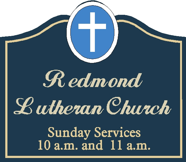 D13100 - Design of a Carved HDU or Wood Church Sign with Hours of Services and carved 3-dimensional or Flat Relief Cross