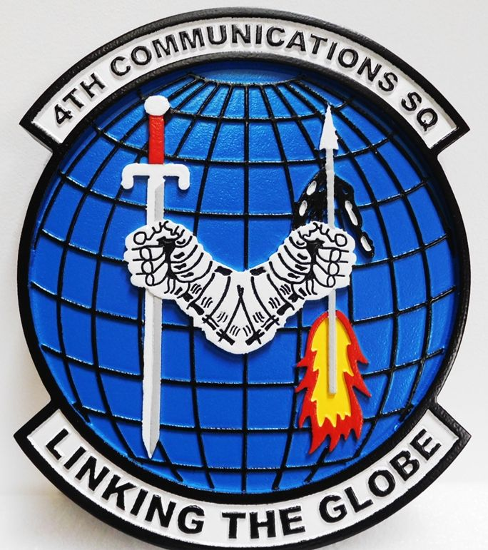 LP-4050 - Carved Plaque of the Crest of the 4th Communications Squadron, USAF, Artist Painted