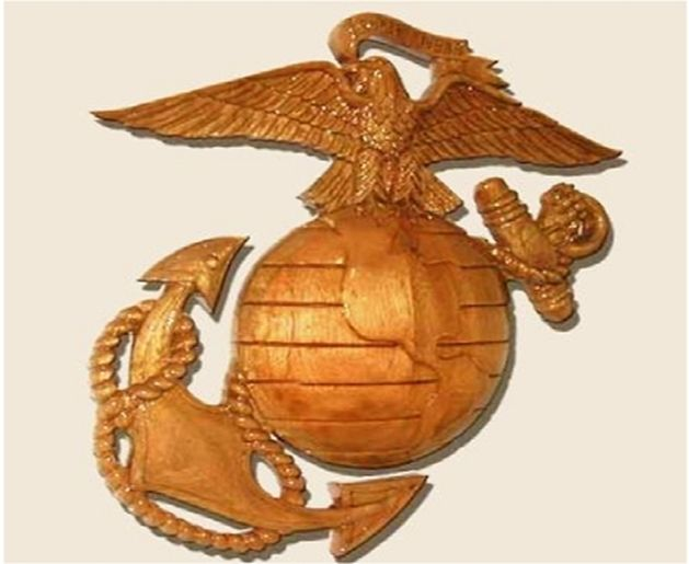 M3718 - Carved 3D Mahogany Wall Plaque of the Globe and Anchor Emblemfor the US Marine Corps (Gallery 31)