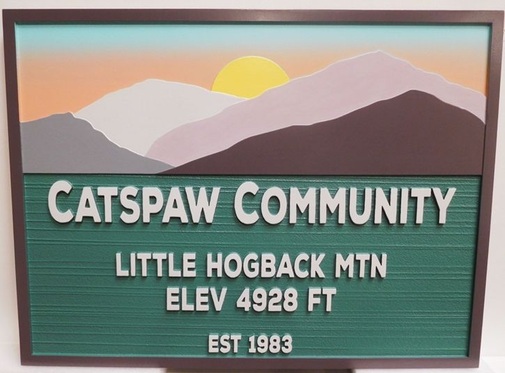 F15320- Entrance Sign for the Catspaw Community, North Carolina,  2.5-D, Artist-Painted Mountains and Sunset