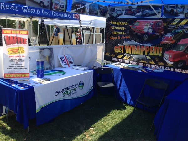 Trade show table throws and table top banner stands Orange County CA