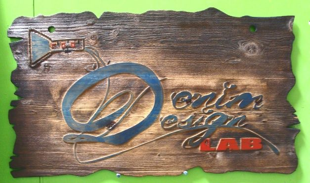 "SB28970 - Carved Cedar Wood Sign ""Denim Design Lab"" for a Store Brand Display, Scorched for a Rustic Aged Look."