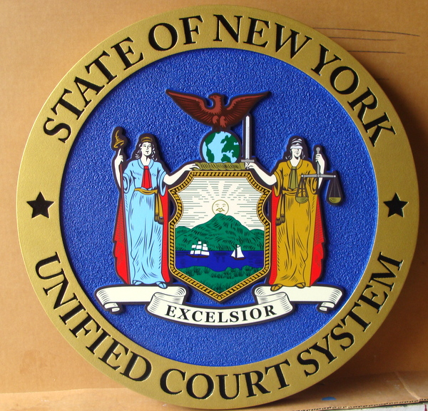 W32371A – Carved 2.5-D HDU  Great Seal of the State of New York , for Unified Court System
