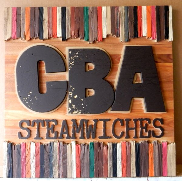 "Q25052 - Carved Wooden Sign for Restaurant with ""Steamwiches"" Sandwiches"