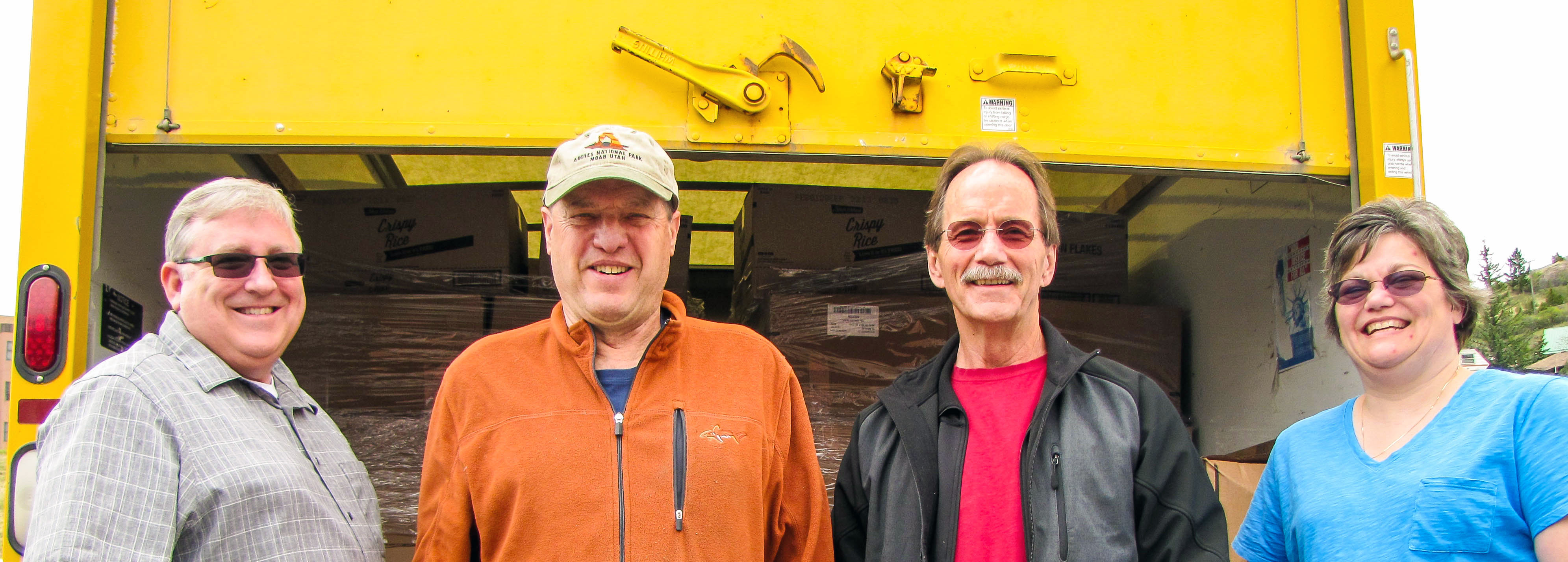 Pictured: Larry and Walter distributing senior commodities in Boulder, Montana.