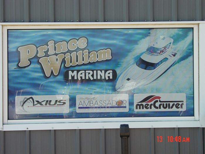 Prince William Marina Storefront Sign
