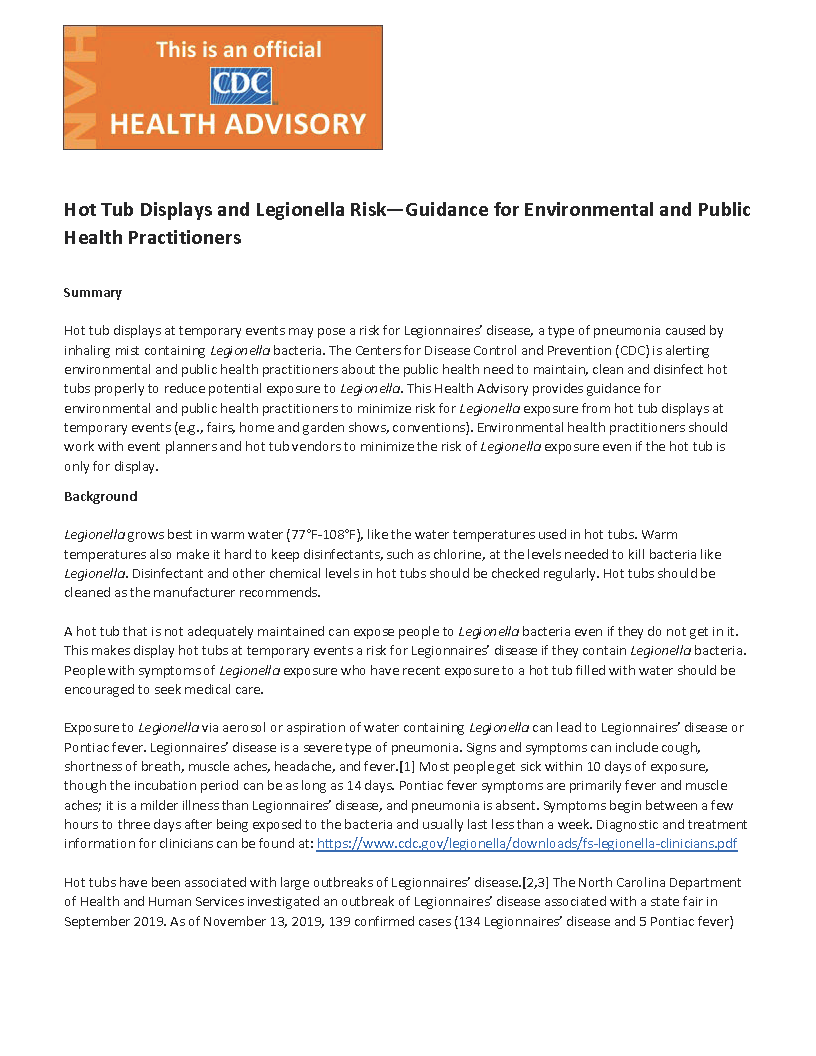 Hot Tub Displays and Legionella Risk—Guidance for Environmental and Public Health Practitioners