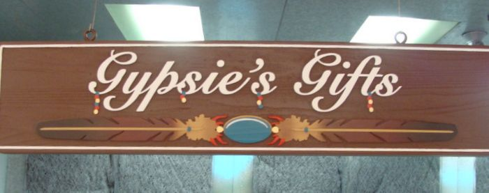 SA28028 - Carved Wooden Sign for Gift Shop with Logo with Feathers and Turquoise Stone