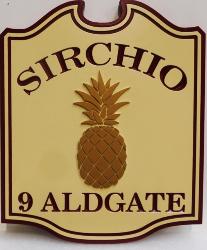 I18465 - Carved High-Density-Urethane (HDU)  Name and Address Sign for a Residence, 2.5-D Engraved and Raised Relief with Stlized Pineapple as Artwork
