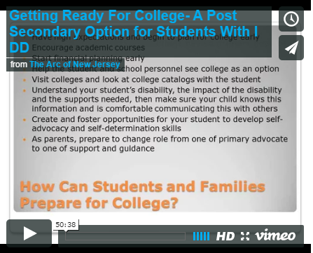 Getting Ready For College- A Post Secondary Option for Students With I DD