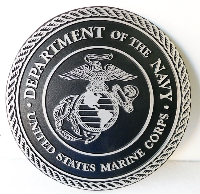 KP-1235 - Cast 2.5-D Plaque of the Seal of the US Marine Corps, Cast Aluminum