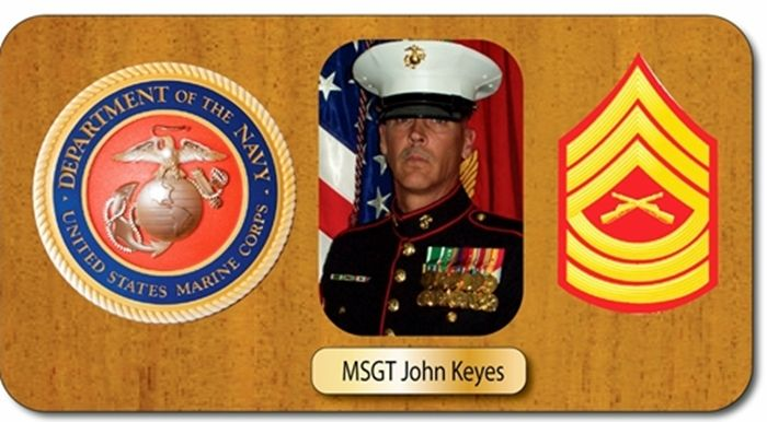 GC16882 - Mahogany  Wall Plaque Honoring a US Marine Master Sergeant, Featuring Giclee Images of his Photo and Images of USMC Insignia