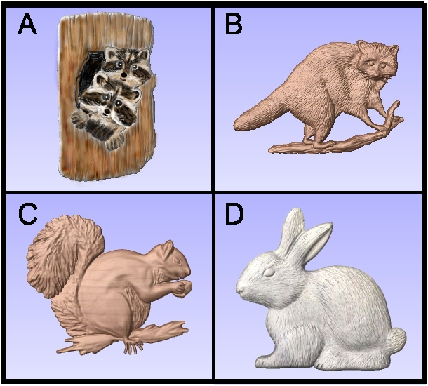 GA16740 - 3-D Carvings of Bunny, Squirrel, Raccoon and Baby Raccoons in a Log
