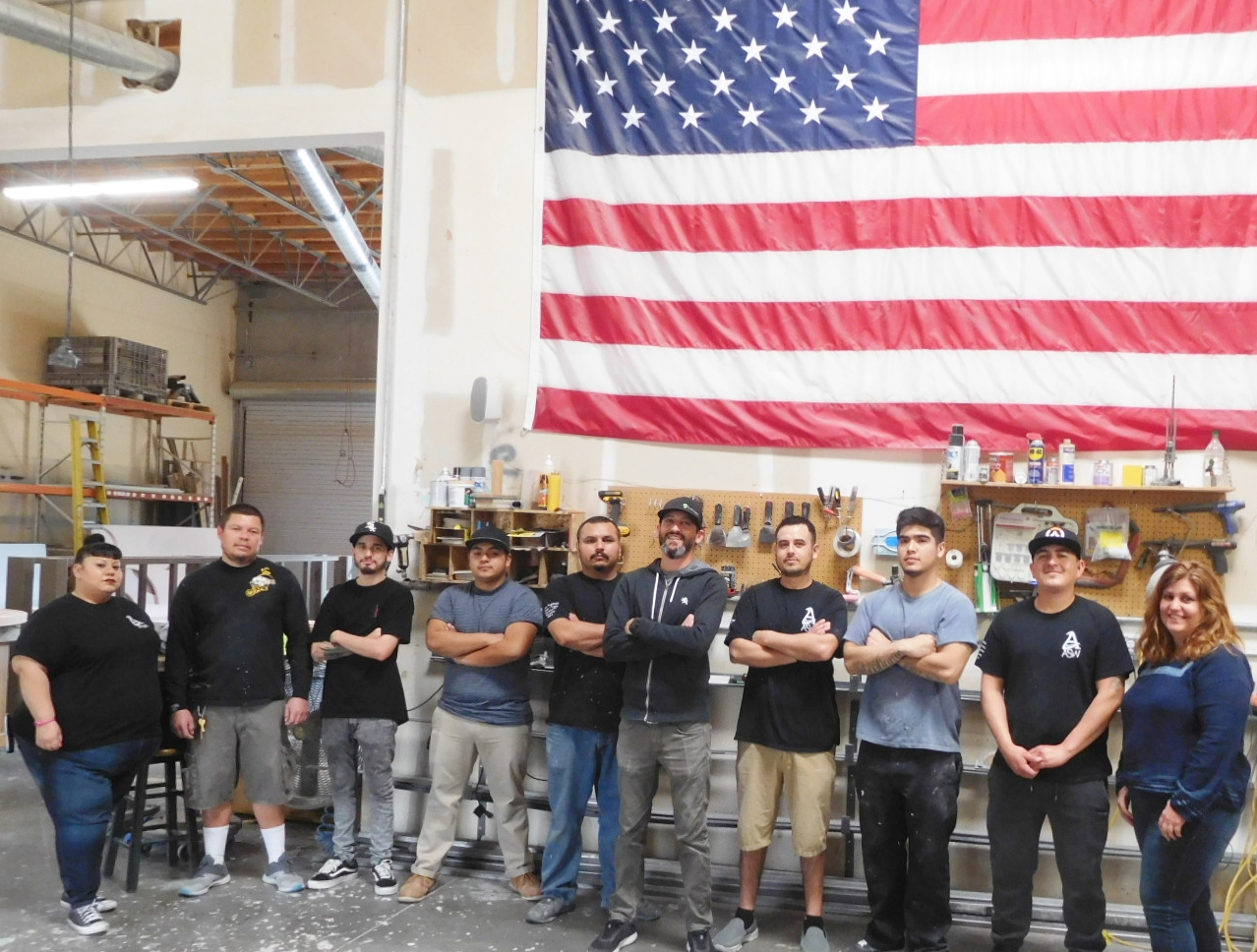 Employees Of The Wood Metal Plaque Company Our Woodshop Production Team In Located Factory Murrieta California All Products Are Made Us By Americans