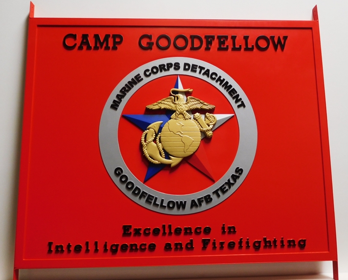 KP-2285 Carved Plaque of the Emblem for Camp Goodfellow,Marine Corps Detachment, 3D Artist-Painted